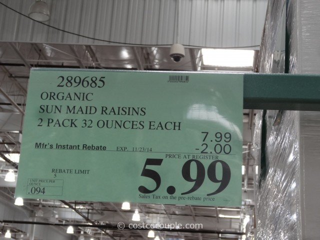 Sun Maid Organic Raisins Costco