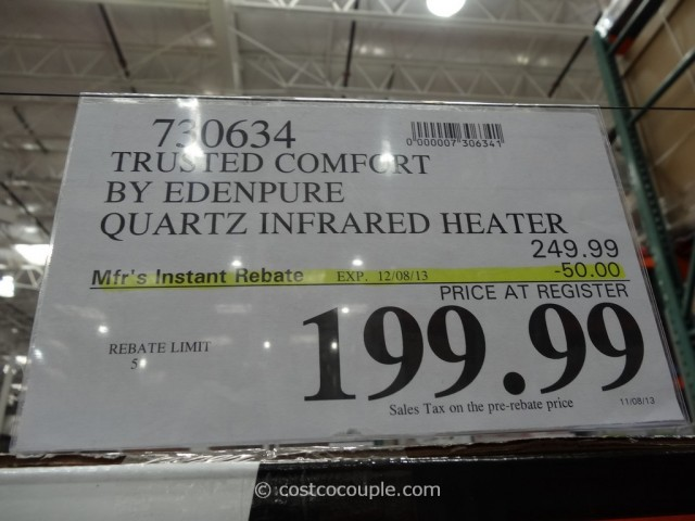 Trusted Comfort By Edenpure Quartz Infrared Heater Costco