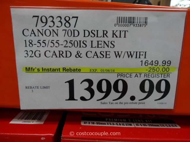 Canon EOS 70D DSLR Kit Costco 1