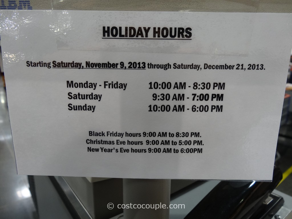 costco holiday hours christmas eve