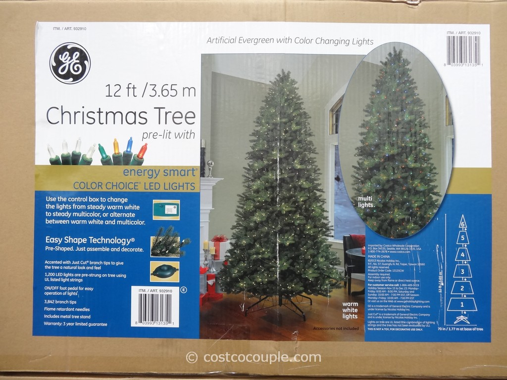 GE 12-Feet Pre-lit LED Christmas Tree