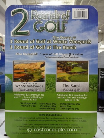 Gift Card Live Discounts 2 Rounds of Golf Costco 2