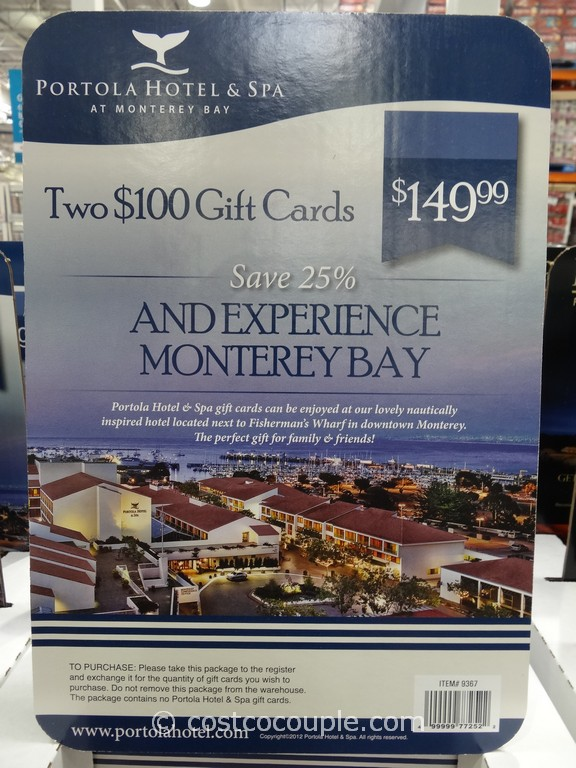 Gift Card Portola Hotel and Spa Costco 2