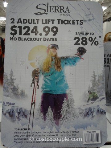 Gift Card Sierra At Tahoe Adult Lift Tickets Costco 1