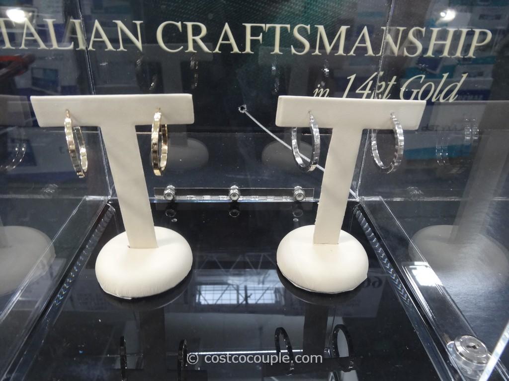 Italian 14kt Diamond Cut Hoop Earrings Costco 1