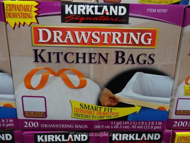 Kirkland Signature 13 Gal Drawstring Kitchen Bags Costco 1