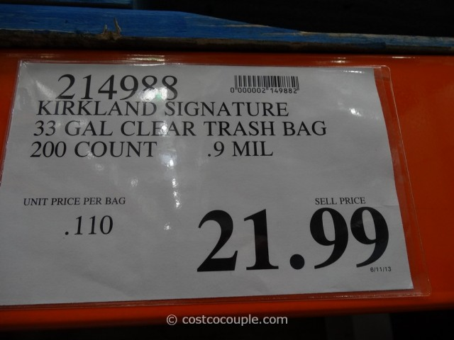 Kirkland Signature 33 Gal Clear Trash Bags Costco 1