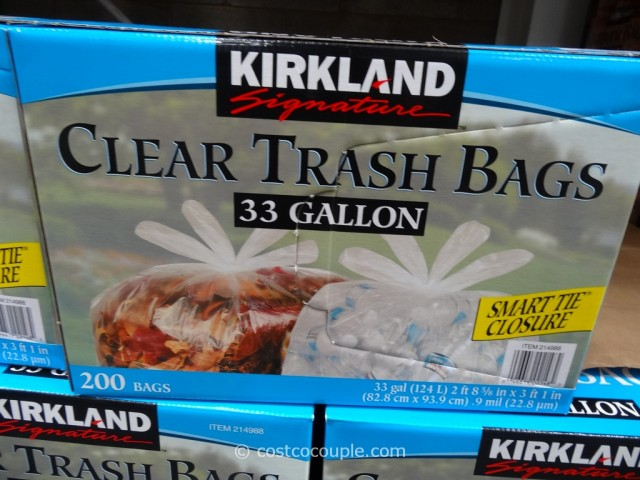 Kirkland Signature 33 Gal Clear Trash Bags