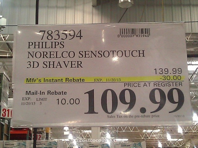 Philips Norelco SensoTouch 3D Shaver Rebate Costco