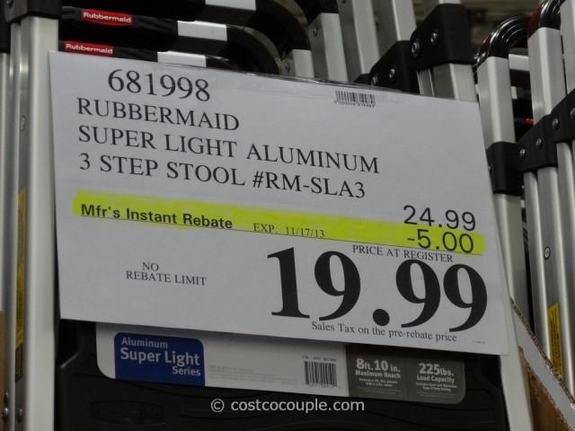 Rubbermaid 3 Step Super Light Aluminum Stool