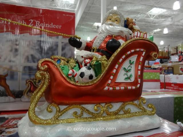 Santa In Sleigh With 2 Reindeer Costco 3