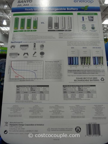 Sanyo Eneloop Rechargeable Battery Combo Pack Costco 3