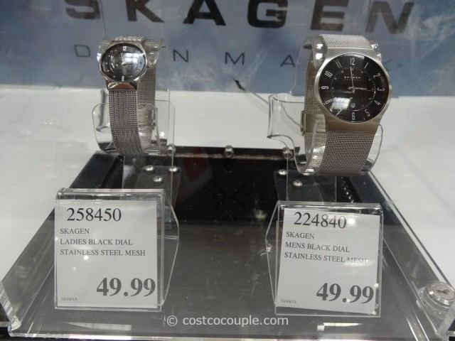 Skagen Mens and Ladies Stainless Steel Case Mesh Band Watch Costco 1