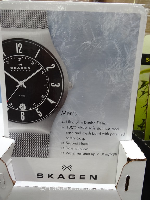 Skagen Mens and Ladies Stainless Steel Case Mesh Band Watch Costco 4