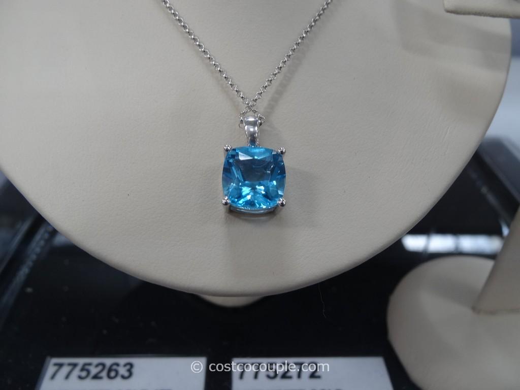 Swiss Blue Topaz 14 Kt Cushion Cut Pendant And Earrings