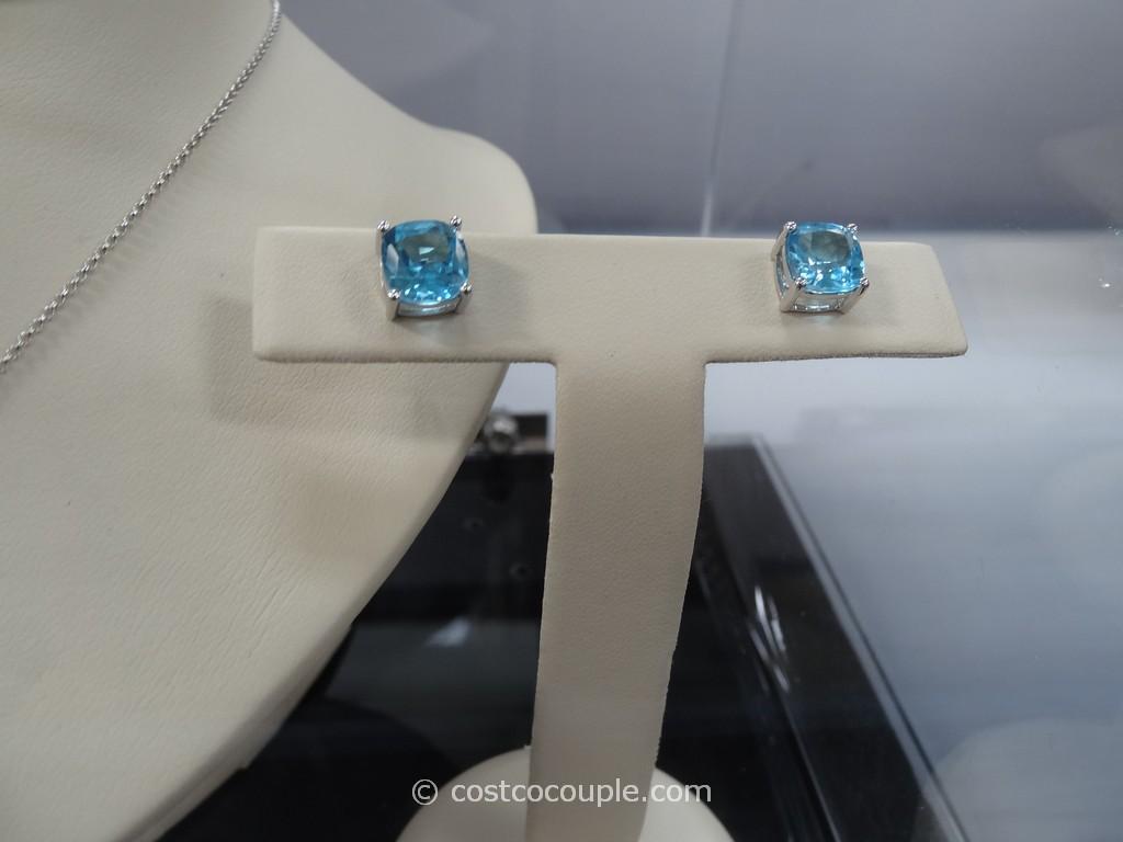 Swiss Blue Topaz 14 Kt Cushion Cut Pendant And Earrings Costco 3