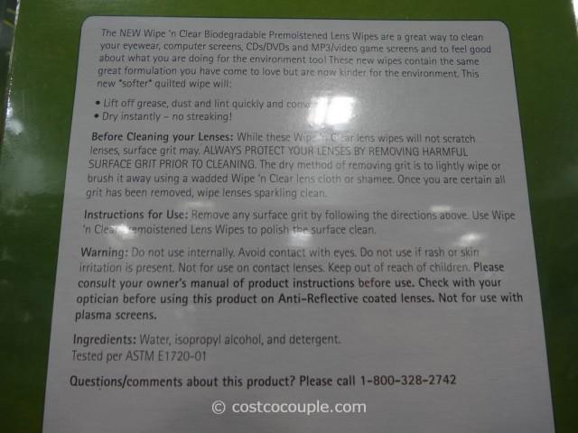 Wipe N Clear Biodegradable Lens Wipe Costco 3