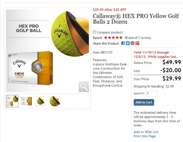 Callaway Hex Pro Yellow Golf Balls Costco