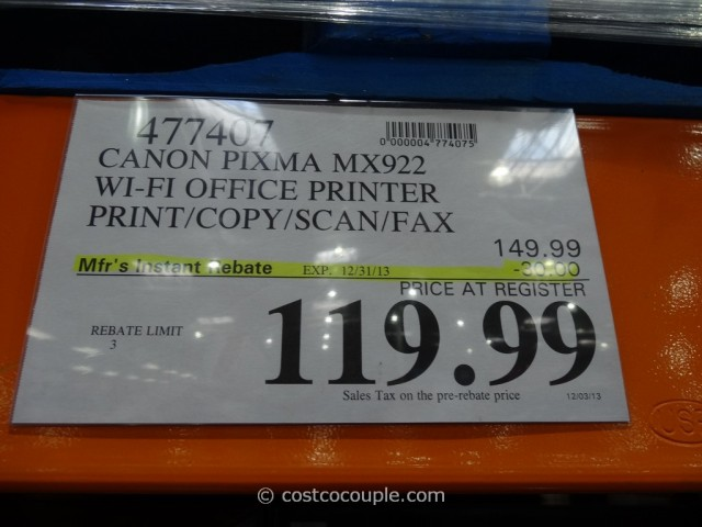 Canon Pixma Wireless All-In-One Inkjet MX922 Costco 6