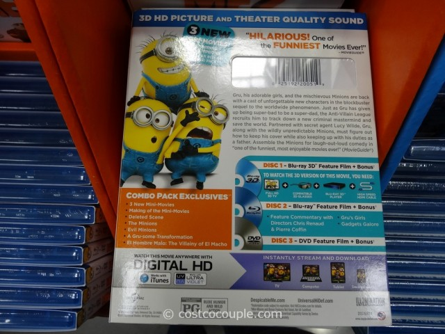Despicable Me 2 Blu-Ray 3D + Blu-Ray + DVD + Digital HD Costco 3