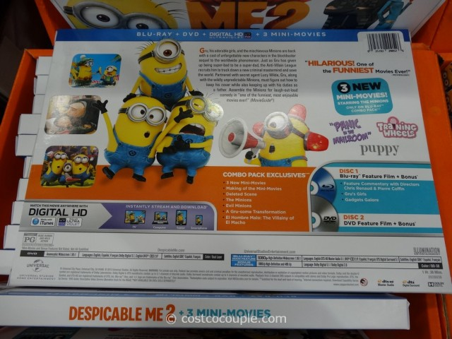 Despicable Me 2  Limited Time Blu-Ray Combo Pack with Blu-Ray + DVD + Digital HD + 3 New Mini Movies Costco 9