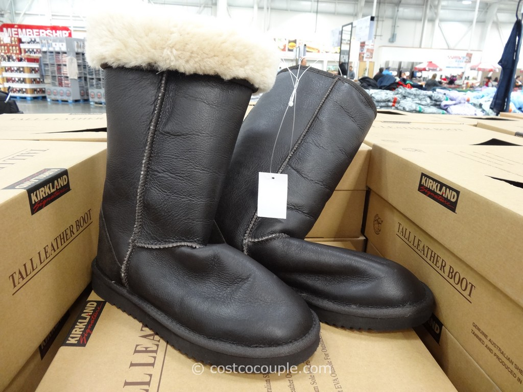 Kirkland Signature Tall Leather Shearling Boot Costco 2