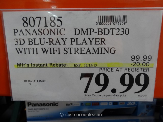 Panasonic 3D Blu-Ray Player with Wifi DMP-BDT230 Costco 1