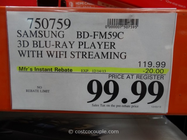Samsung 3D Blu-Ray Player With Wifi BD-FM59C Costco 1