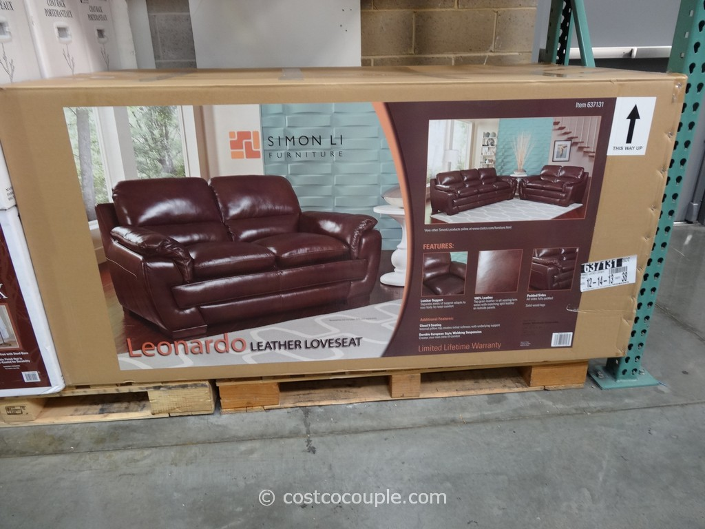 Simon Li Leonardo Leather Loveseat Costco 1
