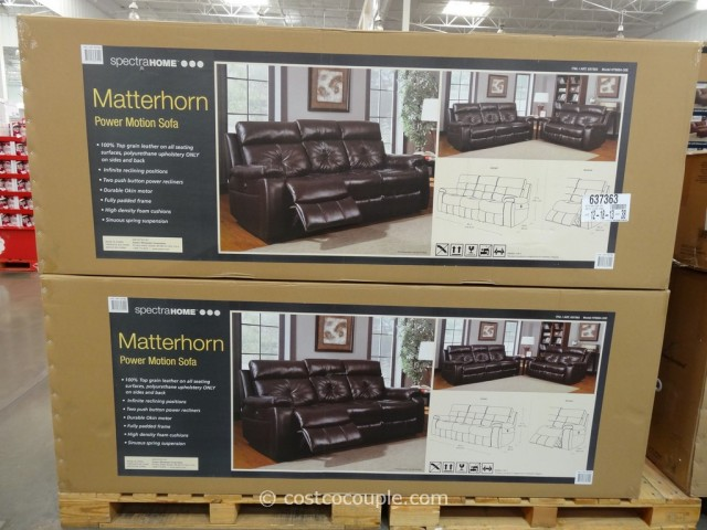 Spectra Matterhorn Leather Power Motion Sofa Costco 3