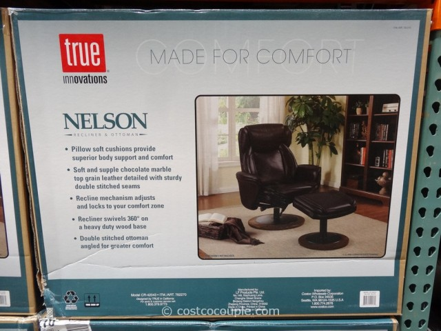 True Innovations Nelson Leather Recliner with Ottoman Costco 3