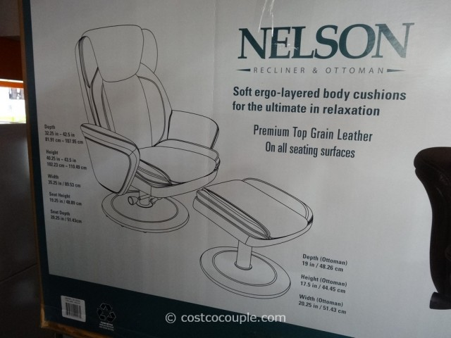 True Innovations Nelson Leather Recliner with Ottoman Costco 5