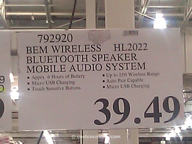 bem wireless bluetooth mobile speaker Costco 1