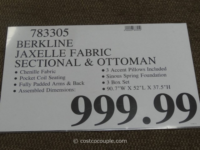 Berkline Jaxelle Fabric Sectional and Ottoman Costco 1
