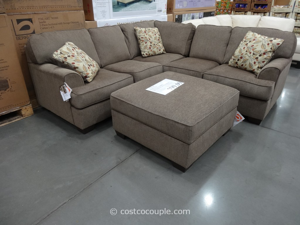 Berkline Jaxelle Fabric Sectional and Ottoman