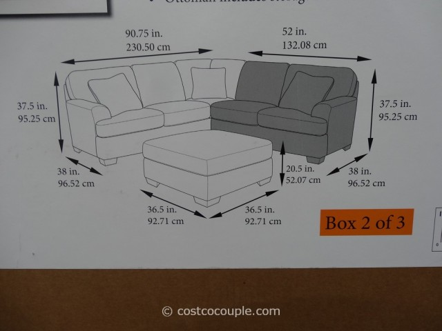 Berkline Jaxelle Fabric Sectional and Ottoman Costco 6