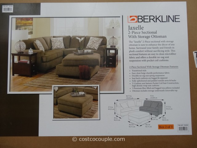 Berkline Jaxelle Fabric Sectional and Ottoman Costco 7