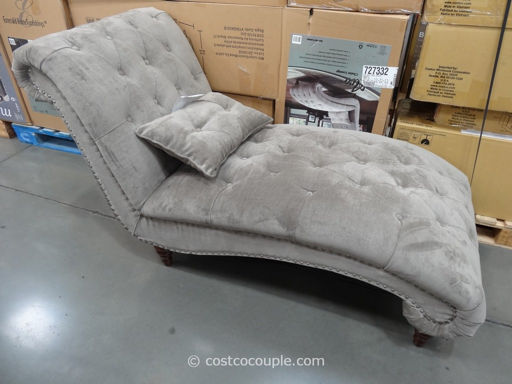 Emerald ava fabric chaise lounge for Chaise lounge costco