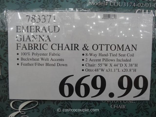 Emerald Gianna Fabric Chair and Ottoman Costco 1
