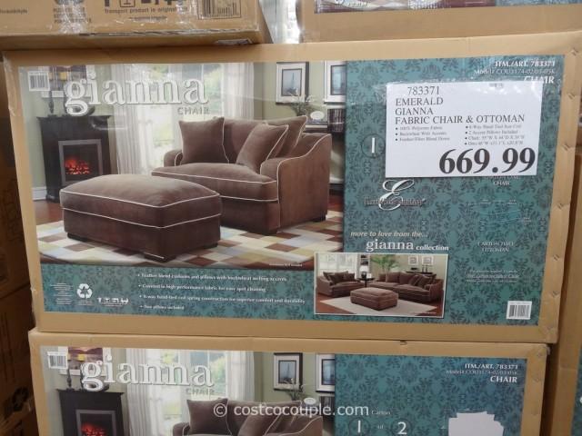Emerald Gianna Fabric Chair and Ottoman Costco  2