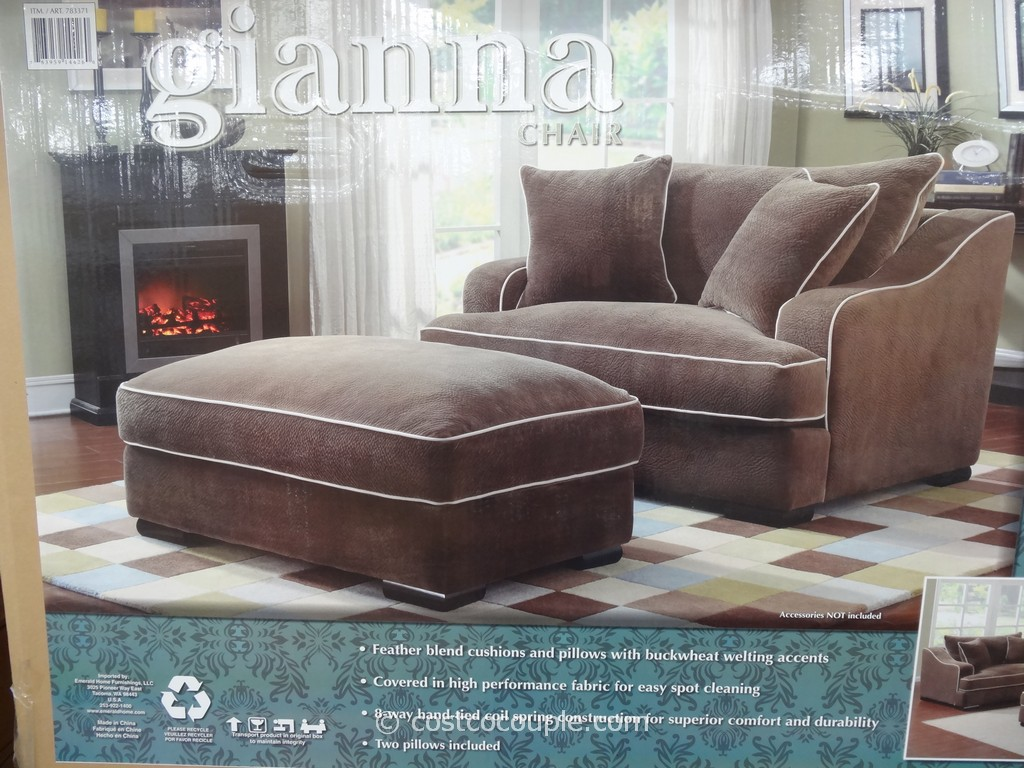 Emerald Gianna Fabric Chair and Ottoman Costco  5