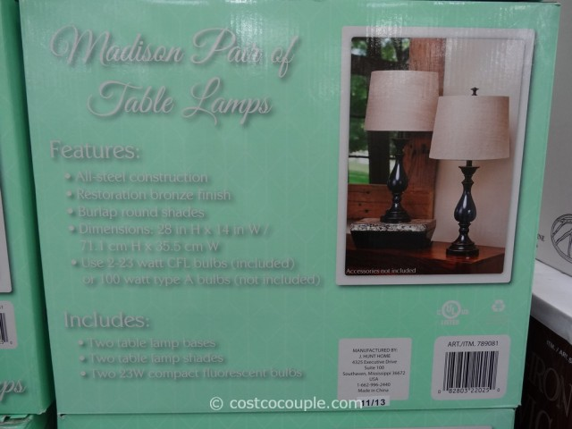 J Hunt Madison Table Lamp Set