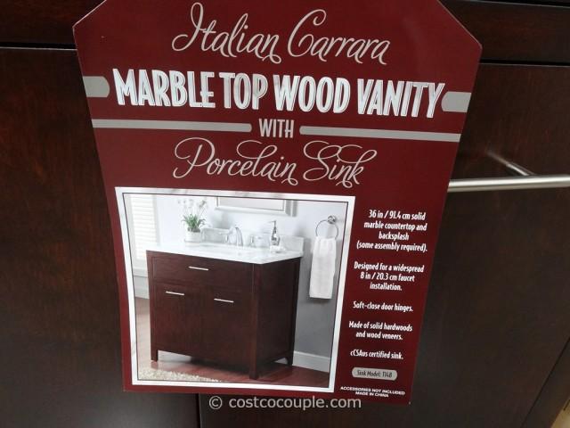 Lanza Products 36-Inch Italian Carrara Marble Top Wood Vanity Costco 4