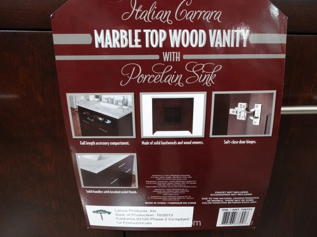Lanza Products 36-Inch Italian Carrara Marble Top Wood Vanity Costco 5