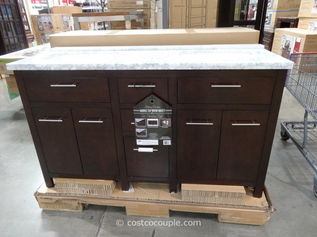 Lanza Products 60-Inch Italian Carrara Marble Top Wood Vanity Costco 2