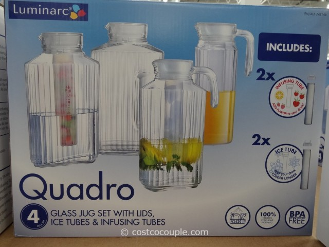 Luminarc 12-Piece Quadro Glass Jug Set Costco 2