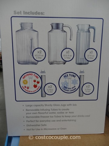 Luminarc 12-Piece Quadro Glass Jug Set Costco 3