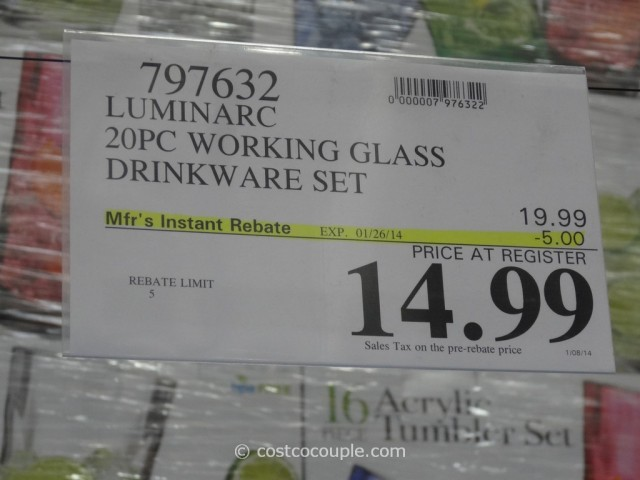 Luminarc Working Glass Drinkware Set Costco 1