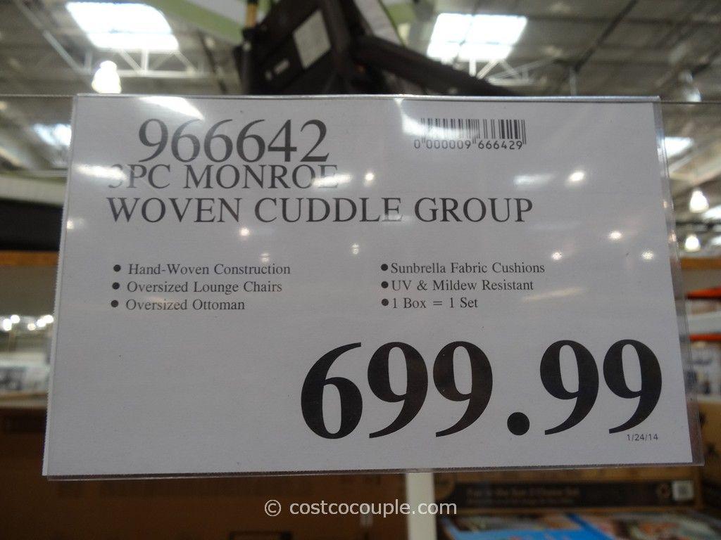 Patio Furniture With Sunbrella Cushions Monroe 3-Piece Woven Cuddle Set