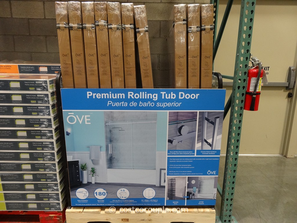 768 #25639B The Shower Door Has One Fixed Glass Panel And One Sliding Panel That  pic Costco Doors 47611024